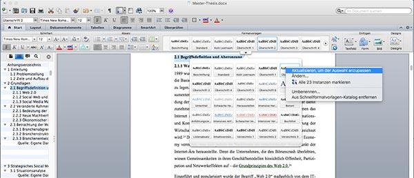 Überschrift nummerieren Word Inhaltsverzeichnis Mac