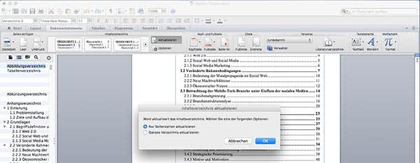 Aktualisieren Inhaltsverzeichnis Word Mac