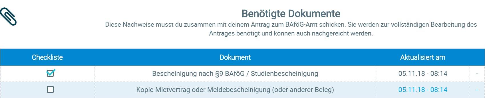BAföG Rechner Checkliste