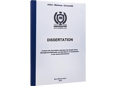 Dissertation binden Klebebindung blau