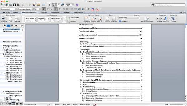 Inhaltsverzeichnis Word Beispiel Mac