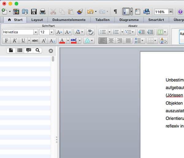 Navigationsleiste Word Mac