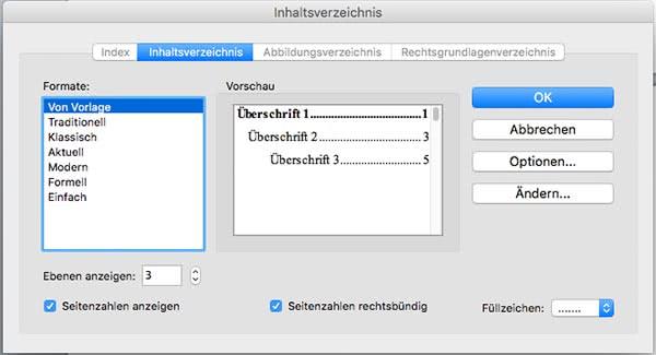 automatisches Inhaltsverzeichnis Word Mac