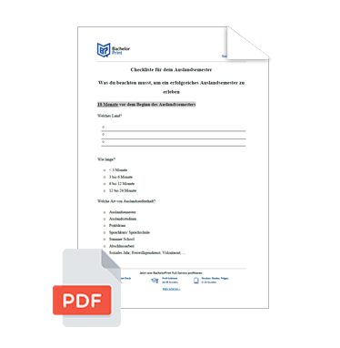 Wissenschaftliche Vorlage Checkliste Auslandsstudium