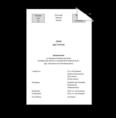 Wissenschaftliche Vorlage Deckblatt Bachelorarbeit Logo