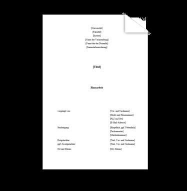 Wissenschaftliche Vorlage Deckblatt Hausarbeit 1
