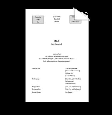 Wissenschaftliche Vorlage Deckblatt Masterarbeit Logo