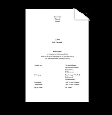 Wissenschaftliche Vorlage Deckblatt Masterarbeit