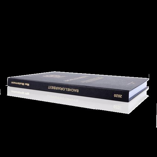 Bachelorarbeit drucken binden lassen Standard Hardcover schwarz Buchrücken