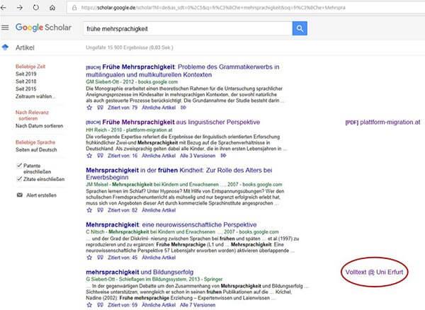 Google Scholar Volltexte