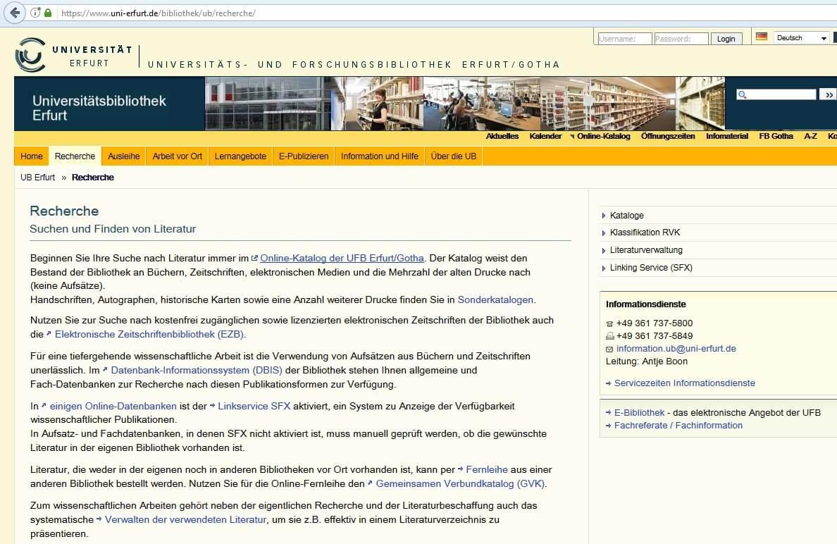 OPAC Uni Erfurt Recherche