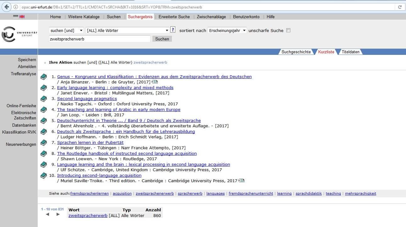 OPAC Uni Erfurt Suche Beispiel