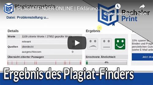 Plagiat-Finder Erklärung Plagiatsreport