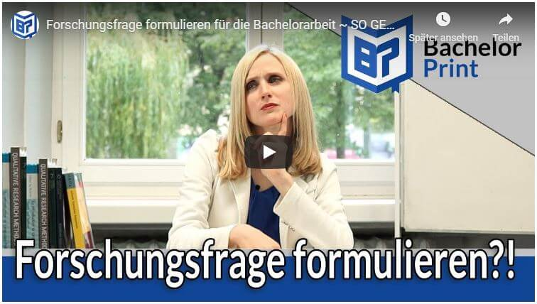 Forschungsfrage formulieren Video Tutorial