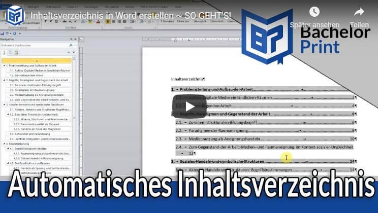 Inhaltsverzeichnis Word Hilfe Tipps Beispiel