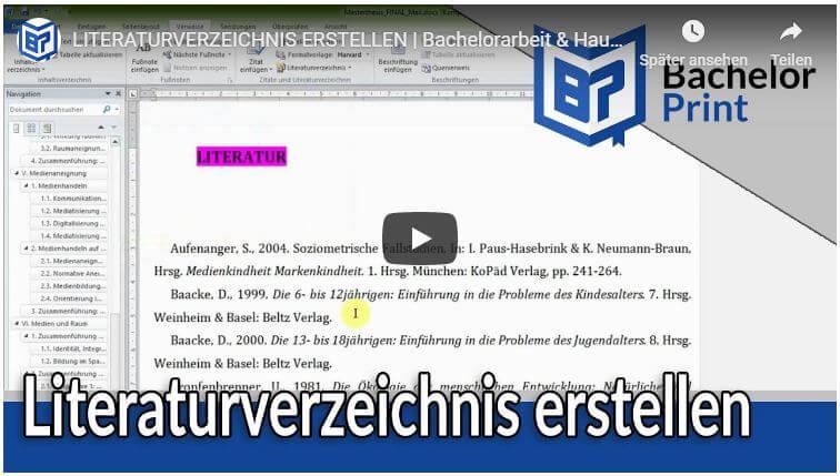 Literaturverzeichnis in Word erstellen Video Tutorial