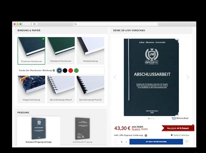 BachelorPrint Onlinedruckerei 3D Konfigurator