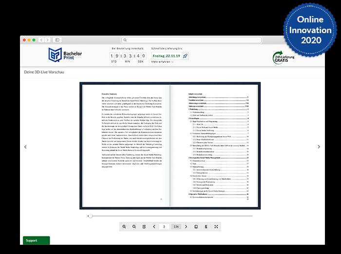 BachelorPrint Onlinedruckerei Blick ins Buch Funktion